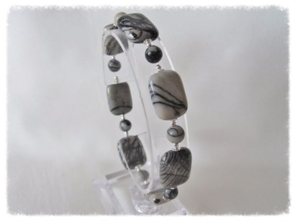 Black & Grey Spider Web Veined Jasper Oblong Beads & Sterling Silver Bracelet | Silver Sensations